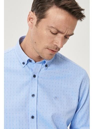 Beymen Business Comfort Fit Armürlü Gömlek 4B2021200020 Mavi